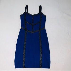 bebe Blue Bodycon dress with Black Stripes